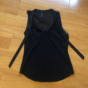 Poleci black sheer tank with leather tie